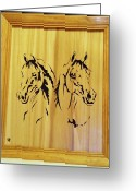 Horse Sculpture Greeting Cards - Two Arabian Horses Greeting Card by Russell Ellingsworth