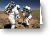 Desert Rats Greeting Cards - Two Astronauts Collect Soil Samples Greeting Card by Stocktrek Images