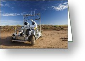 Desert Rats Greeting Cards - Two Astronauts Take A Ride On Scout Greeting Card by Stocktrek Images