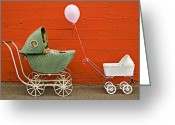 Buggy Greeting Cards - Two baby buggies  Greeting Card by Garry Gay