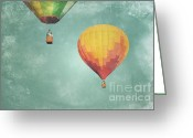 Baby Room Greeting Cards - Two Balloon Sky Greeting Card by Andrea Hazel Ihlefeld