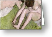 Grass Pastels Greeting Cards - Two Bathers on the Grass Greeting Card by Edgar Degas