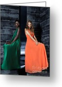 Edgy Greeting Cards - Two Beautiful Women in Elegant Long Dresses Greeting Card by Oleksiy Maksymenko