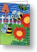 Esson Greeting Cards - Two Bees With Red Flowers Greeting Card by Genevieve Esson
