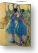 Rehearsal Greeting Cards - Two Blue Dancers Greeting Card by Edgar Degas