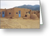 Taos Pueblo Greeting Cards - Two Blue Doors Greeting Card by Jerry McElroy