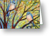 Peach Greeting Cards - Two Bluebirds Greeting Card by Jennifer Lommers