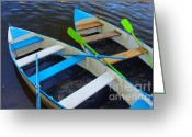 Pond Reflection Greeting Cards - Two boats Greeting Card by Carlos Caetano