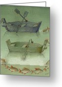 Water Drawings Greeting Cards - Two Boats Greeting Card by Kestutis Kasparavicius