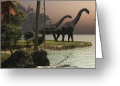 Animal Themes Digital Art Greeting Cards - Two Brachiosaurus Dinosaurs Enjoy Greeting Card by Corey Ford