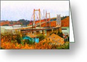 Impressionist Digital Art Greeting Cards - Two Bridges in The Backyard Greeting Card by Wingsdomain Art and Photography