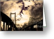 Highways Greeting Cards - Two Bridges One Moon Greeting Card by Wingsdomain Art and Photography