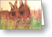 Nursury Greeting Cards - Two Bunnies Greeting Card by Lynn Beazley Blair