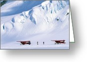 Glacier Greeting Cards - Two Bush Pilots Stand Greeting Card by Kate Thompson