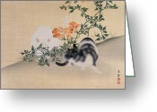 Oriental Flower Greeting Cards - Two Cats Greeting Card by Japanese School