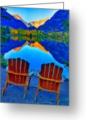 Adirondack Greeting Cards - Two Chairs in Paradise Greeting Card by Scott Mahon