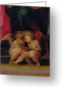 Cherubs Greeting Cards - Two cherubs reading detail from Madonna and Child with Saints Greeting Card by Giovanni Battist Rosso Fiorentino