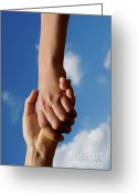 12-13 Years Greeting Cards - Two children holding hands Greeting Card by Sami Sarkis