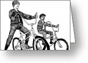 Humans Greeting Cards - Two Cool Riders Greeting Card by Karl Addison