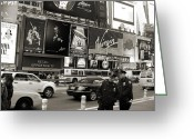 New York Signs Greeting Cards - Two cops on Broadway Greeting Card by RicardMN Photography