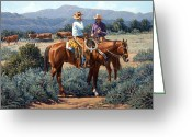 Bloomfield Greeting Cards - Two Cowboys Greeting Card by Randy Follis