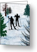 Ski Jump Greeting Cards - Two Cross Country Skiers in Snow Squall Greeting Card by Elaine Plesser