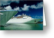 Cruise Ships Greeting Cards - Two Cruise Ships Docked At A Caribbean Greeting Card by Todd Gipstein