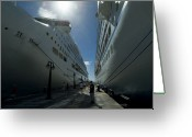 Cruise Ships Greeting Cards - Two Cruise Ships On Either Side Greeting Card by Todd Gipstein