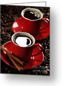 Coffee Beans Greeting Cards - Two Cups of Coffe on Coffee Beans Greeting Card by Oleksiy Maksymenko
