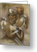 Straps Greeting Cards - Two Dancers Adjusting their Shoulder Straps Greeting Card by Edgar Degas 