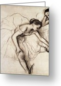 Drawing Greeting Cards - Two Dancers Resting Greeting Card by Edgar Degas