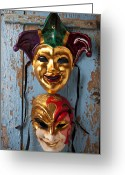 Masks Greeting Cards - Two decortive masks Greeting Card by Garry Gay