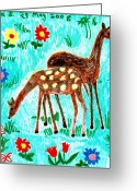 Animal Ceramics Greeting Cards - Two deer Greeting Card by Sushila Burgess