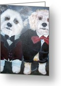 Funny Pet Picture Greeting Cards - Two Dogs in Tuxedos Greeting Card by Penny Stewart