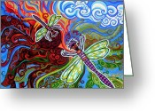 Stretched Canvas Greeting Cards - Two Dragonflies Greeting Card by Genevieve Esson