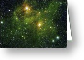 Twinkle Greeting Cards - Two Extremely Bright Stars Illuminate Greeting Card by Stocktrek Images