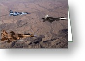 Raptor Photography Greeting Cards - Two F-15 Agressor Eagles Fly Greeting Card by Stocktrek Images