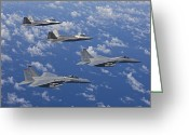 Raptor Photography Greeting Cards - Two F-15 Eagles And F-22 Raptors Fly Greeting Card by HIGH-G Productions