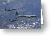 Air-to-air Greeting Cards - Two F-15 Eagles Conduct Aerial Greeting Card by HIGH-G Productions
