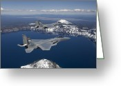 Fighter Jets Greeting Cards - Two F-15 Eagles Fly Over Crater Lake Greeting Card by HIGH-G Productions
