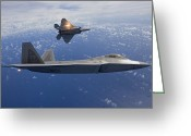 Air-to-air Greeting Cards - Two F-22 Raptors Release Flares While Greeting Card by HIGH-G Productions