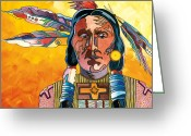 Stylized Art Greeting Cards - Two Feathers Greeting Card by Bob Coonts