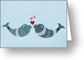 Illustration Technique Digital Art Greeting Cards - Two Fish Kissing Greeting Card by Jutta Kuss