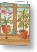 Gardening Drawings Greeting Cards - Two Flowerpots Greeting Card by Kestutis Kasparavicius
