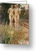 Nudes Greeting Cards - Two Friends  Greeting Card by Anders Leonard Zorn
