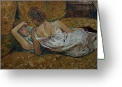 Nightgown Greeting Cards - Two friends Greeting Card by Henri de Toulouse-Lautrec