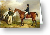 Riders Greeting Cards - Two Gentlemen Out Hunting  Greeting Card by Henry Barraud