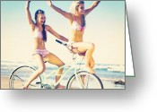 Bicycle Greeting Cards - #two #girls #having #fun #bicycle Greeting Card by Isidora Leyton
