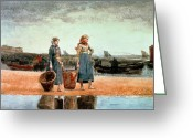Wicker Baskets Greeting Cards - Two Girls on the Beach Greeting Card by Winslow Homer