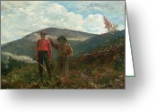 Pointing Painting Greeting Cards - Two Guides Greeting Card by Winslow Homer
